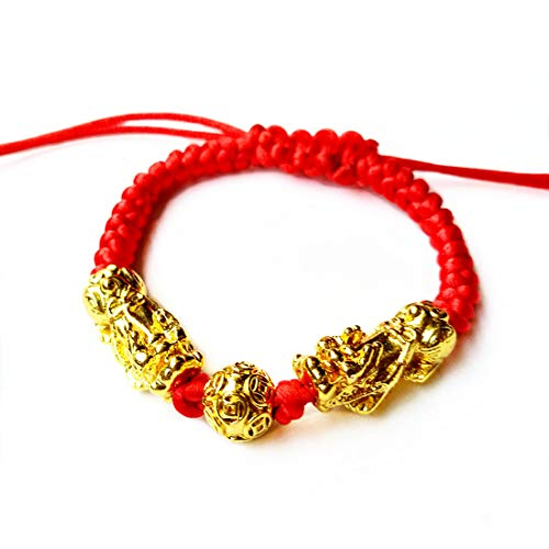 Feng Shui The Best Red String Bracelet with Double Pi Xiu/Pi Yao and Golden Wealth Mantra Bead Bracelet Jewelry Attract Wealth and Good Luck