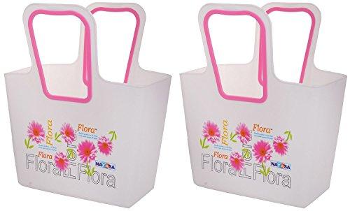 Nayasa Plastic Basket Set, Set of 2, Pink