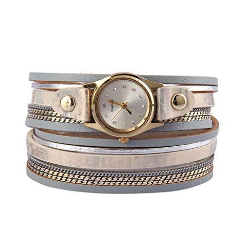 Jenia Women's Leather Watch Wrap Around Bracelets Casual Quartz Wrist Watch Multi Layer Leather Bracelet with Magnetic Clasp Ladies Gold Plated Watches for Wife, Ladies, Girls Gifts