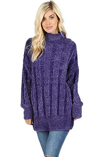 (Sweaters for Women Turtle Cowl Neck Vertical Stripe Velvet Yarn Long Sleeve Sweater-Purple (Medium))