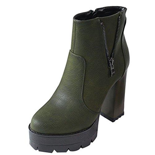 Enmayer Pu Materiaal Ronde Neus Vierkante Hak Platform Rits Solide Schoenen Voor Dames Dameslaarzen Groen Met Bont