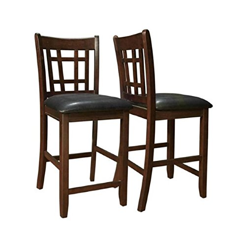 Coaster leather look 2 piece pub chair 24 height cappuccino black home and barstool store Home bar furniture amazon