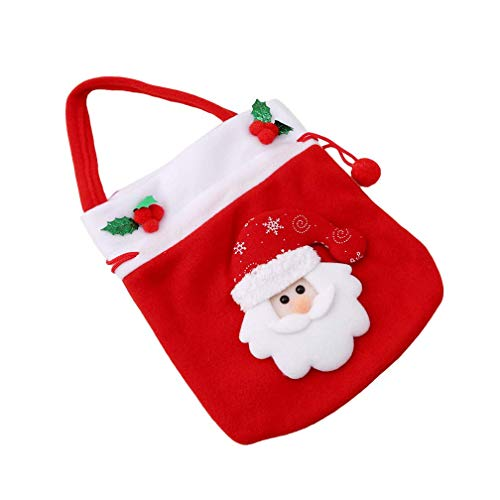 (Xeminor Premium Quality Christmas Sweets Candy Handbag Santa Flannel Sweets Gift Bags Xmas Decor)