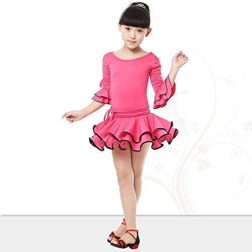 Style Lunghe Vestiti Doppio Ragazze Maniche Bozevon Orlo 3 Latino Vestito Concorrenza Danza Esercizio Ballo Costume Da Prestazioni YwZtS