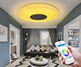 LED Ceiling Light with Remote Control, Built in Bluetooth Speaker Smartphone APP, Music