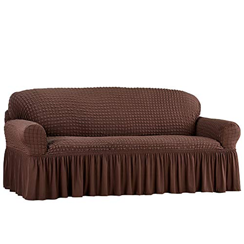 Collections Etc Fashionable Textured Square Stretch Slipcover with Ruffled Skirt - Protects from Spills, Stains, Pets Hairs, Wear & Tear - Home Decor