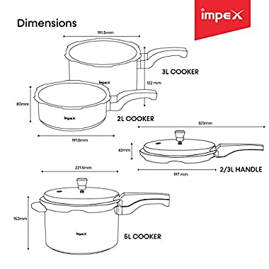 Impex IFC 235 Induction Base Aluminium Pressure Cooker Family Combo Set with Outer Lid (Silver, 2, 3 and 5 L) 10