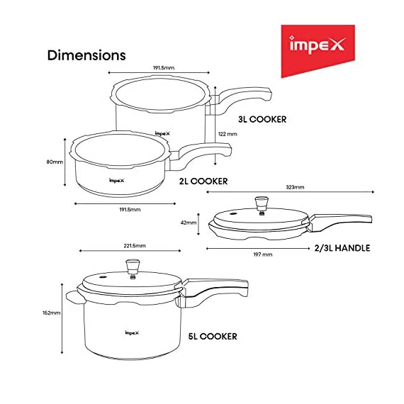 Impex IFC 235 Induction Base Aluminium Pressure Cooker Family Combo Set with Outer Lid (Silver, 2, 3 and 5 L) 3