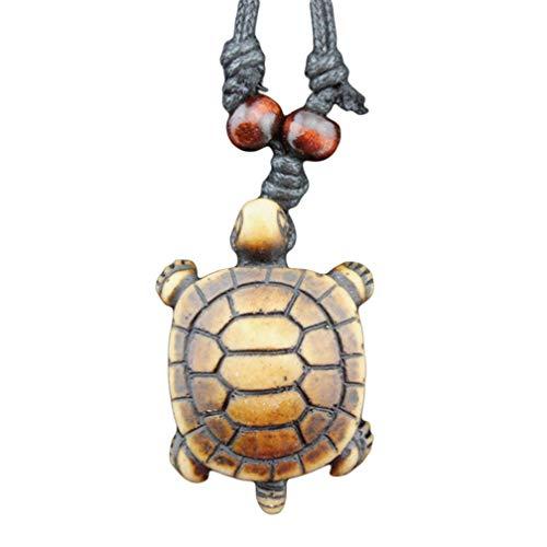 LJSLYJ Imitation Bone Carved Sun Smiley Turtle Pendant Charm Necklace Beaded Adjustable Rope Necklace,8#