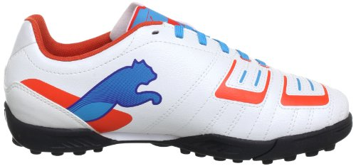 Puma Kinder Fussballschuh PowerCat 4 TT Jr Weiß (metallic white-orange.com 02)
