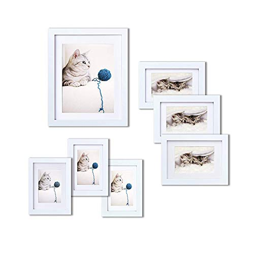 INNOCHEER Picture Frame Set of 7: Solid Wood, Three 4x6 Inches - Three 5x7 Inches - One 8x10 Inches ()