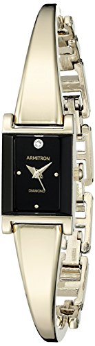 Watch Womens 20 Diamonds (Armitron Women's 75/5322BKGP Diamond-Accented Dial Gold-Tone Bangle Watch)