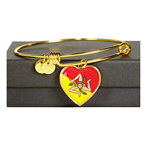P.S. I Love Italy Gold Sicilian Flag with Heart Charm Bangle - Great Italian Themed Jewelry Gift - Shatterproof Glass Bangle on Surgical Steel Fashion Bracelet - Engraving Available