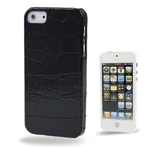 """Iphone 5/5S : caja de plástico protector de la cubierta """" Negro Cocodrilo textura"""""""