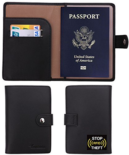 Passport Cover Holder Wallet (Travelambo RFID Blocking Genuine Leather Passport Holder Wallet Cover Case Wing Pocket)