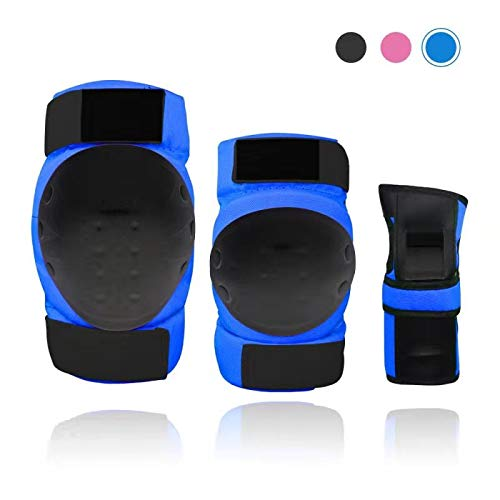 Lucky-M Adult Kids Knee Pads Elbow Pads Wrist Guards Set,6 in 1 Protective Gear Set for Multi Sports Skateboarding Inline Roller Skating Cycling Biking BMX Bicycle Scooter (S/M/L)(Blue, M(30-50kg))