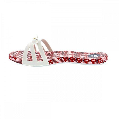 Mules Zaxy Like Slide Blanc et Rouge Blanc