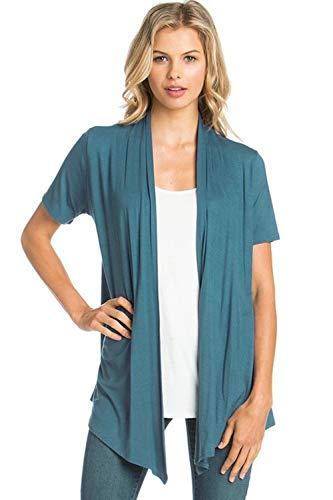 (Encler Women's Short Sleeve Open Front Drape Cardigan Wrap Sweater (S-3X) Reg Plus Size - Made in USA (XXX-Large, Teal Aqua) )