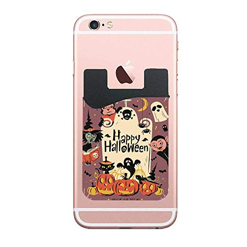 CardlyPhCardH Vintage Happy Halloween Wolfman Spooky Vampire and Witch Surrounding The Grave Lovely Purple Fun Authentic Cell PhoneCard Holder Stick on Wallet Pouch for Apple iPhone 2 PCS]()