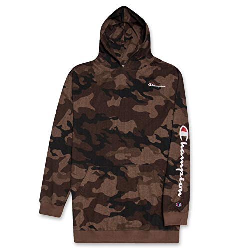 - Champion Mens Big and Tall Long Sleeve Pullover Jersey Lightweight Hoodie, Brown CAMO LT