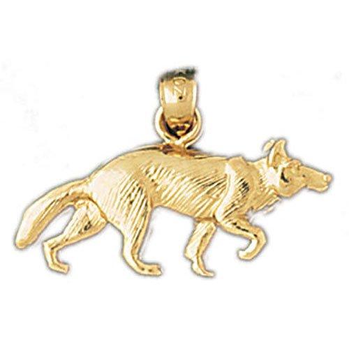 Amazoncom 14k Yellow Gold Wolf Pendant Jewelry