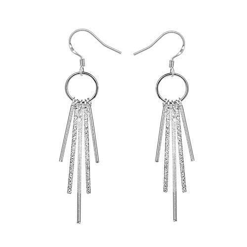 Alicenter(TM) Womens Jewelry 925 Sterling Silver SP Vintage Five Columns Dangle Earrings