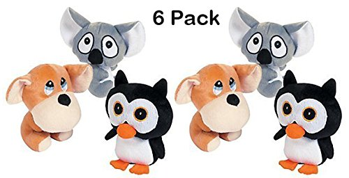Kidsco Stuffed Animals with Big Head 6 Inches – 6 Pieces - Assorted Colored Animals, Penguin, Puppy and Koala Bear – for Kids Great Party Favors, Fun, Toy, Gift, Prize by Kidsco