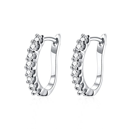 Small Huggie Hoop Earrings for Women Girls Cubic Zirconia Hypoallergenic Studs For Sensitive Ears (white gold) (Small Hoop Non Pierced Earrings)
