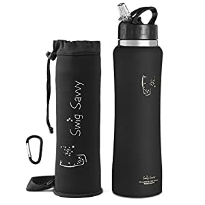 Swig Savvy Stainless Steel Insulated Leak Proof Flip Top Straw Cap Water Bottles with Pouch & Clip, Black, 32oz