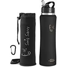Swig Savvy's Stainless Steel Insulated Water Bottle Wide Mouth 24oz / 32oz Double Wall Design with Straw Flip Cap - Great For Kids - Sweat Proof - Including Water Bottles Pouch
