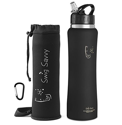Swig Savvy Stainless Steel Insulated Wide Mouth Water Bottle with Leak Proof Flip Top Straw Cap, Pouch and Clip, 32 oz., Black (Bottle Tops For Cans compare prices)