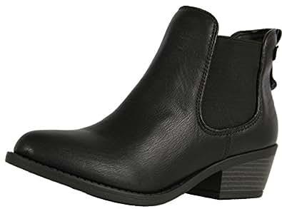 Soda Women's Chelsea Faux Leather Elastic Side Panel Ankle Boots Dress (Black, 5.5 M)