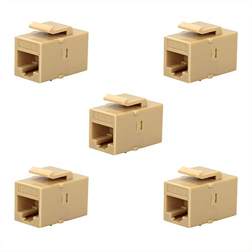 Ivory Wall Wall Plate - BATIGE 5-Pack CAT6 RJ45 Keystone Jack Female Coupler Insert Snap-in Connector Socket Adapter Port for Wall Plate Outlet Panel (Ivory White)