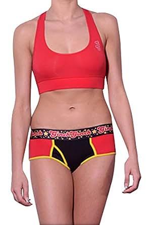 Ginch Gonch women's Solid Sport Bra XL Red