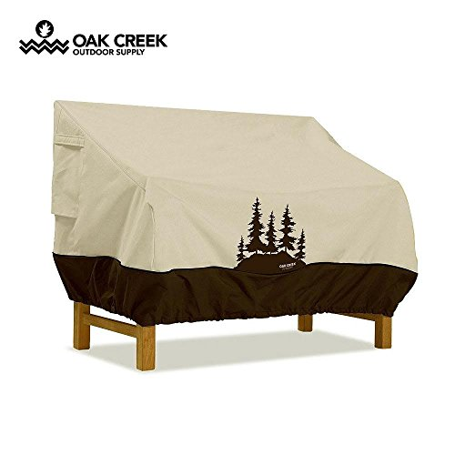 Oak Creek Premium Outdoor Furniture Cover | Patio Bench Cover with Air Vents, Click-Close Straps, Elastic Hem Cord | Made of Heavy Duty Waterproof Fabric with PVC Coating | Pine Tree Design