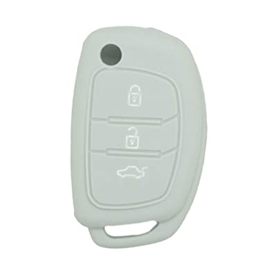 SEGADEN Silicone Cover Protector Case Skin Jacket fit for HYUNDAI 3 Button Flip Remote Key Fob CV9102 Gray: Automotive