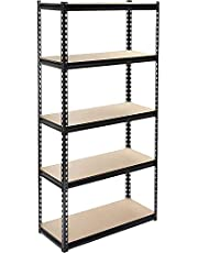 NORTACK 5 Shelf Rack Storage Organizer 86.5 X 35.5 X 183 cm in Black Color