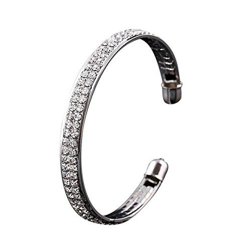Womens Fashion Gold Crystal Rhinestone Open Bangle Cuff Bracelet Jewelry Gift (One Size,SL)