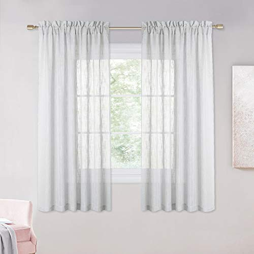 NICETOWN Linen Textured Sheer Curtains - Semi Voile Sheer Panels Translucent Bedroom Window Treatment Balance Privacy & Light for Son's Room (W52 x L63 Inch, Grey, 2 Panels)