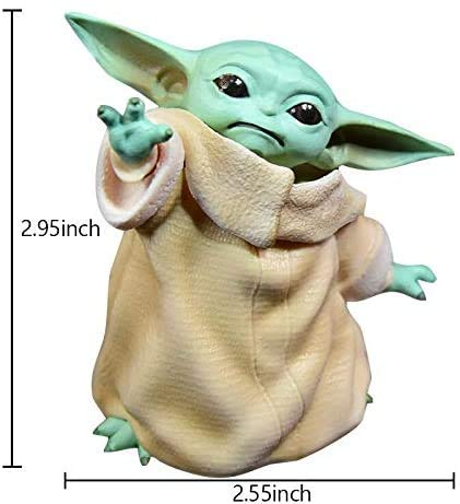 Mini Baby Yoda Figure Replica, 3inch The Child Form The Mandalorian Hand Model Car Ornaments Doll Fans Collectible Toys Birthday Gift for Kids