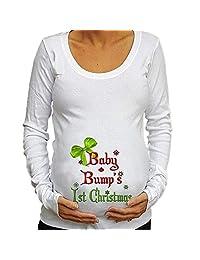 Pregnant Women T-shirt Tops Christmas Letter Print Long Sleeves