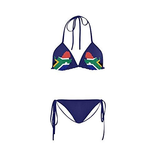 ADEDIY South Africa Flag Map Sandy Beach Bikini Personalized Swimsuit S