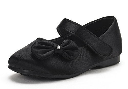 DREAM PAIRS Angel-5 Adorable Mary Jane Side Bow Buckle Strap Ballerina Flat (Toddler/Little Girl) Black Satin 9 -