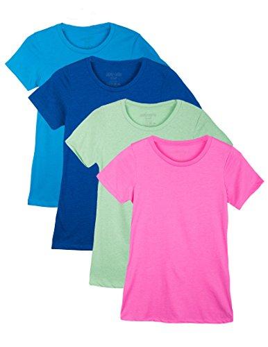 4 Pack Caramel Cantina Womens Slim Fit Crewneck Short Sleeve Shirt