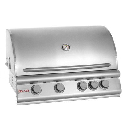 "32"" 4-Burner Built-In Gas Grill with Rear Infrared Burner Ga"