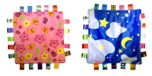 Little Taggie Like Theme Baby Sensory, Security & Teething Closed Ribbon Style Colors Security Comforting Teether Blanket - Pink Flowers & Night Sky 2-Pack w/Gift Box by J&C Family Owned