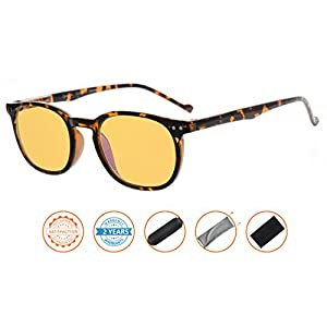 Reduce Eyestrain,Anti Blue Rays,UV Protection,Unisex Computer Reading Glasses(Tortoise,Amber Tinted Lenses) +1.5