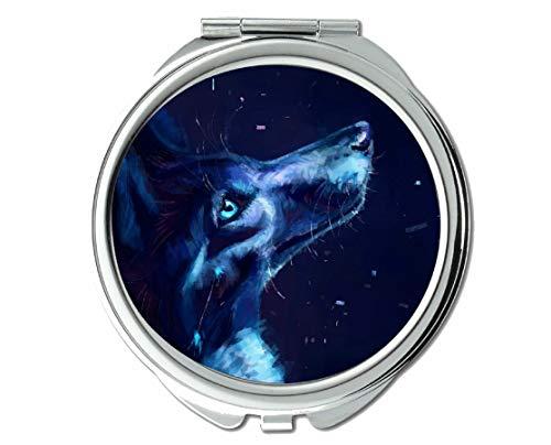 Yanteng Flying Pig Men Mirror,Travel Mirror,Stare Wildlife Predator Wolf,Pocket Mirror,1 X 2X Magnifying ()