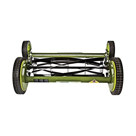 Sun Joe Manual Reel Mower 2 Steel frame and blades 18 inch wide cutting path 9-position height control