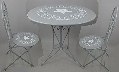 Gartengarnitur Tisch Rund Gartenmöbel Set Stühle Vintage STAR Grau Metall  Klappbar Kaufen